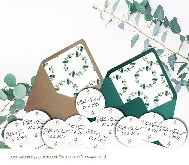 Kulaté nálepky Eucalyptus diamant, bílá 72 ks /45 m