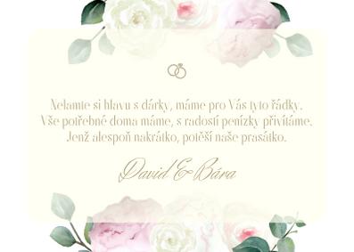 Kartičky na dary Pivoňková zahrda, krém 75x105 mm