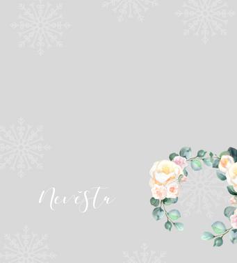Jmenovky Meruňkové růže, v šedo-bílé  - 90x100mm tištěné