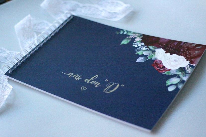 Kniha přání Burgundy polka, modrá 297x210, tištěná