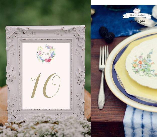 Čísla 1-10 na stoly Luční zahrada, pudr