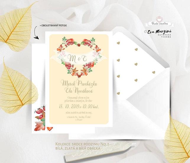Svatební oznámení Srdce podzimu, v meruňkové v rustikálním a vintag stylu