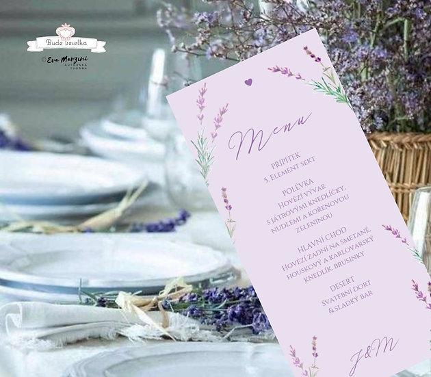Svatební menu Levandule a něha, v lila, 99 mm x 210 mm tištěné