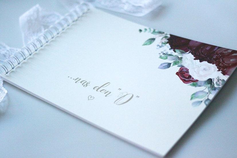 Kniha přání Burgundy polka, krémová 297x210, tištěná