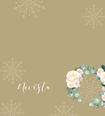 Jmenovky Meruňkové růže, ve zlaté - 90x100mm tištěné