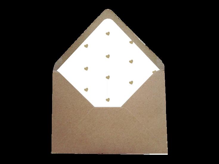 Obálka C6+ kraftová písková - s bílým vkladem Eucalyptus srdíčkový No.3