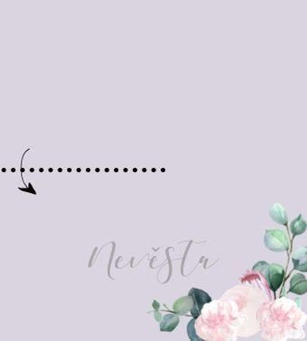 Jmenovky ke stolu Šípkové růže - lila a bílá, 90x50/100mm tištěné