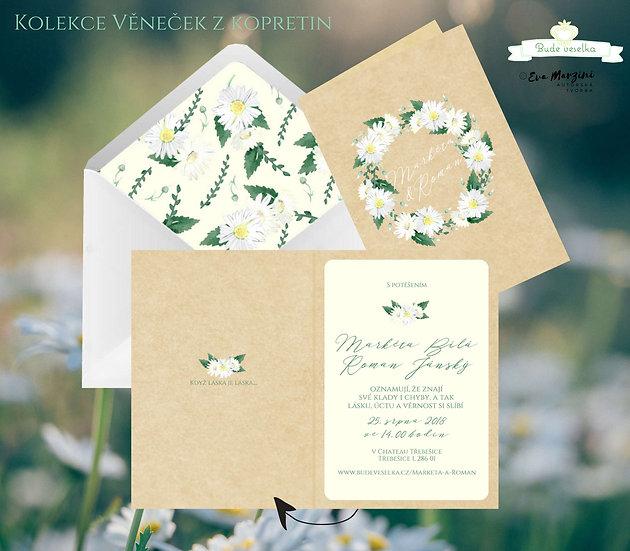 Svatební oznámení otevírací přírodní kraft s věnečkem z kopretin a lístů ve stylech boho vintage a rustic