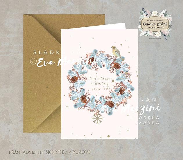 Vánoční přání Adventní skořice, v růžové - 240x170 - tištěné