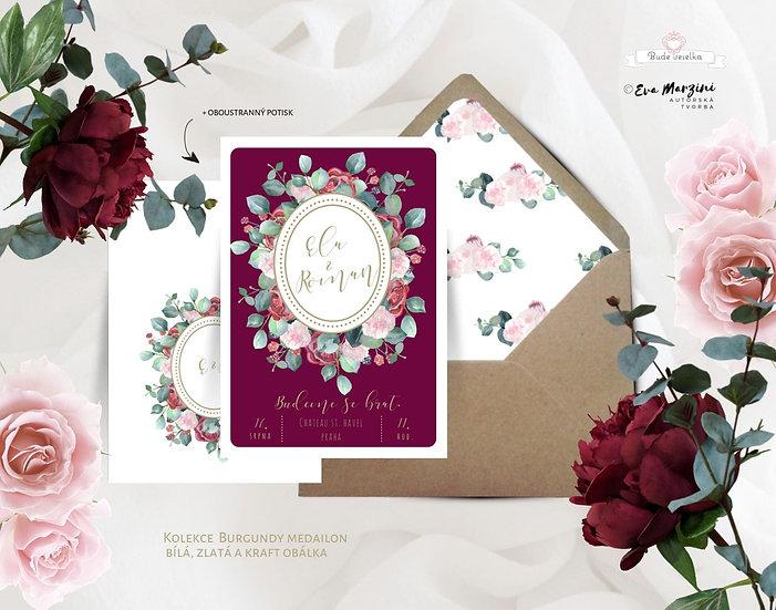 Svatební oznámení ve vínové s červenými květy ve vínové a burgundy, ve stylu rustikálním a vintage
