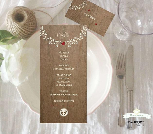Svatební menu Z hájenky, kůra 99x210 mm tištěné