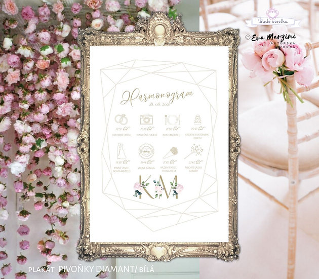 Plakát Harmonogram Pivoňky Diamant, A3 - bílá - tištěný