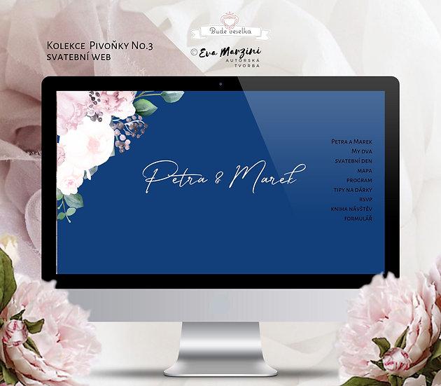 Svatební web Pivoňky No.3, královsky modrá a pudrová barva v kaligrafickém, boho, vintage a rustik stylu.