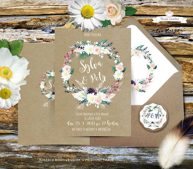 Svatební oznámení Boho věneček přírodní pappír, s polními květy, ve stylu rustik a vintage, svatba na louce