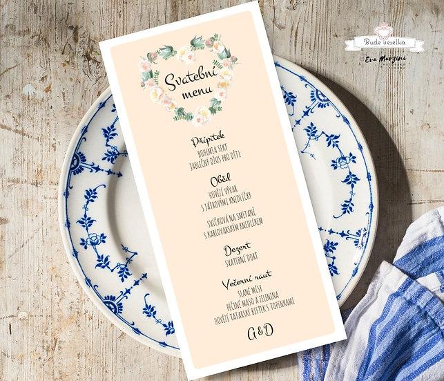 Svatební menu Srdíčko z růží, meruňková - 99x210 mm tištěné