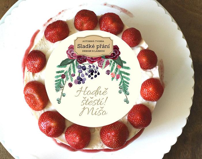 Jedlé blahopřání na dort - Burgundy plody, No.4