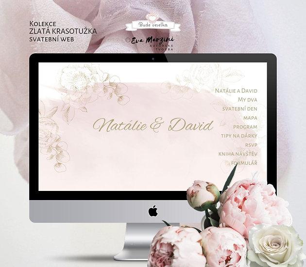 Svatební web Zlatá krasotužka v růžové s kresbou bílých pivoněk a růží ve vintage stylu