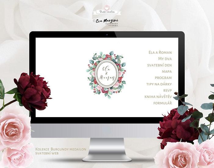 svatební web s červenými květy v bílé a burgundy, ve stylu rustikálním a vintage