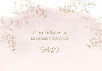 Svatební pozvánky Zlatá krasotužka, pudr rose 74x105 mm