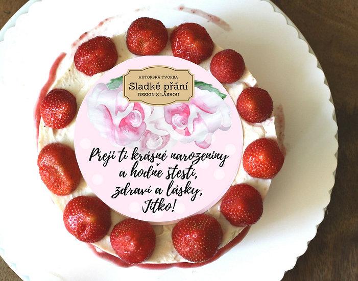 Jedlé blahopřání na dort - Růže retro dots, No.2