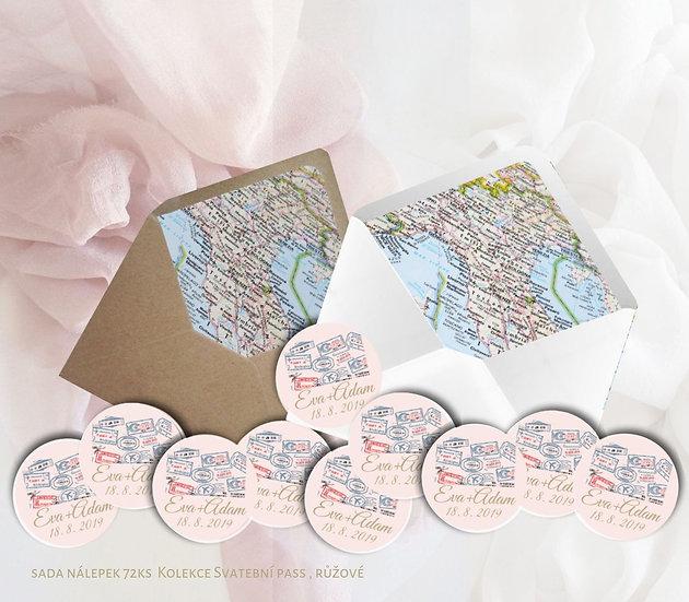 Kulaté nálepky Svatební pas, pudr růžová 72 ks /45 m