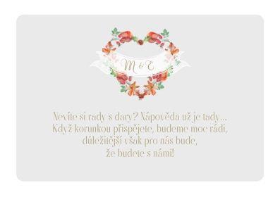 Svatební kartičky na dary Srdce podzimu - šedé, tiš