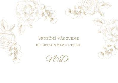 Svatební pozvánky Zlatá krasotužka, bílá 74x105 mm