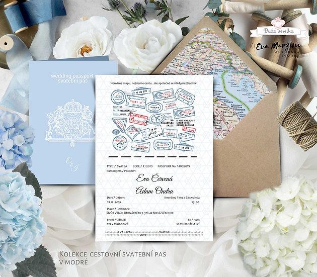 Otevírací oznámení Svatební pas - v modré -  210x148 mm - tištěné