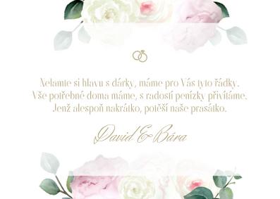 Kartičky na dary Pivoňková zahrda, bílá 75x105 mm