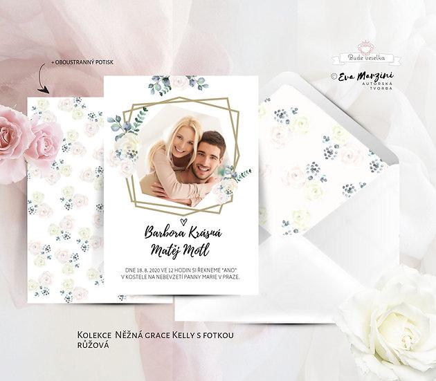 Svatební oznámení s fotko, geometrickými tvary, pudrovými a béžovými růžemi, lístky eucalyptu ve stylech boho vintage, rustic