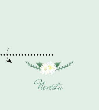 Svatební jmenovky Věneček z kopretin, v zelené - 90x50mm/90x100mm tištěné
