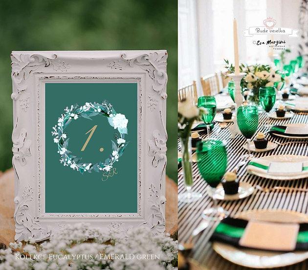 Čísla 1-10 na stoly Eucalyptus, emerald green A6
