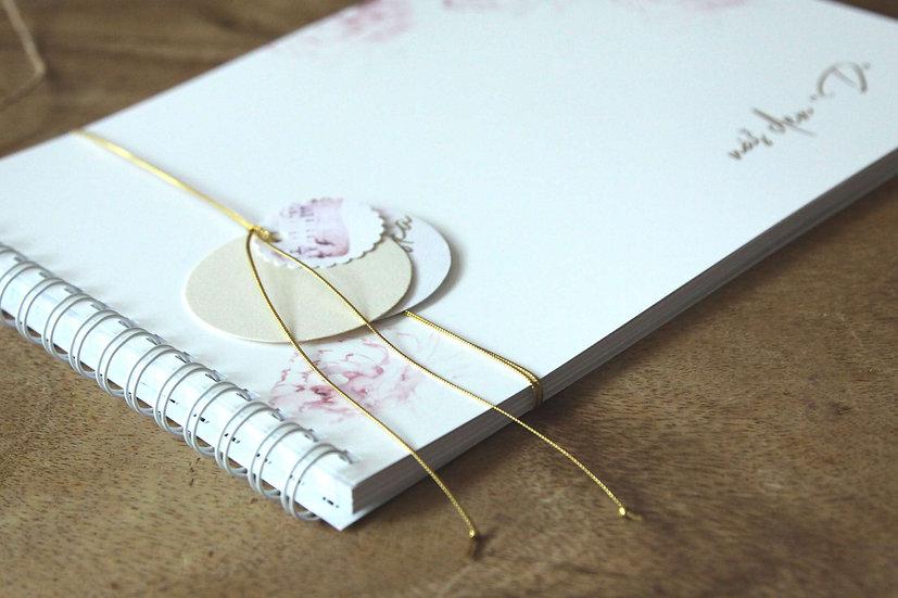 Kniha přání Pivoňky ve zlaté kaligrafii, bílá 297x210, tištěná