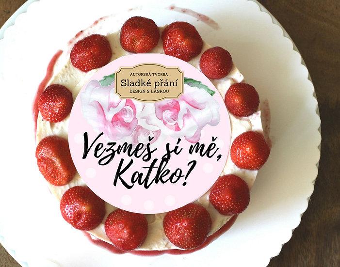 Jedlé blahopřání na dort - Růže retro dots, No.5