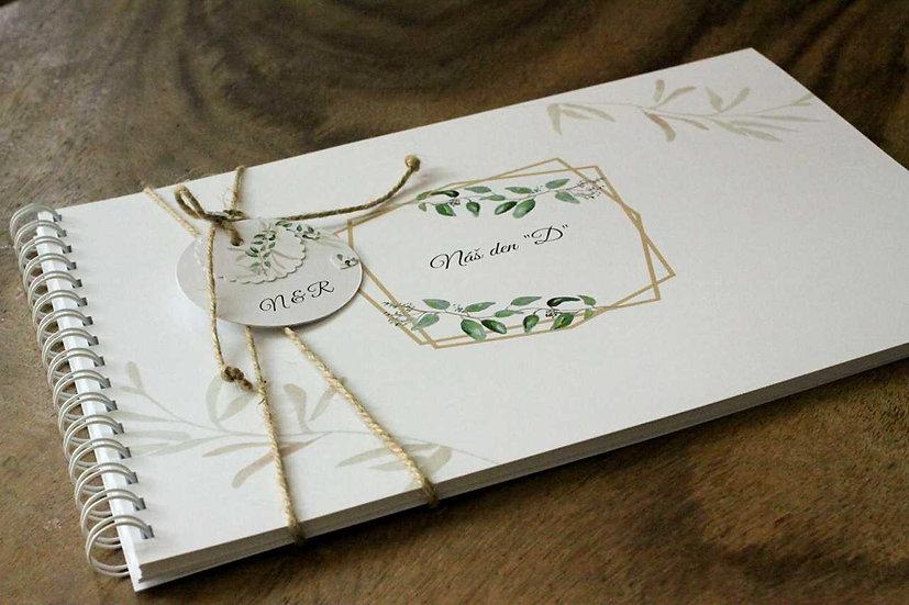 Kniha přání hostů Lístky popínavé, bílá 297x210, tištěná