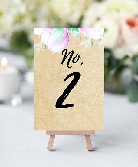 Čísla 1-10 na stoly Poupě No.2, přírodní