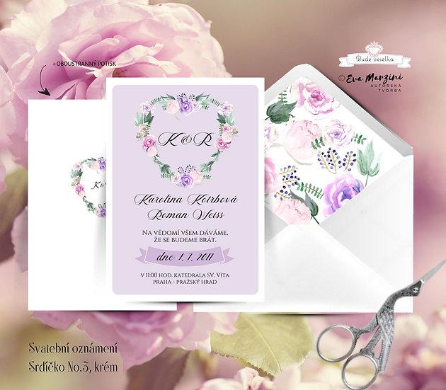 Svatební oznámení kraft lila se srdcem z fuksiovými, růžovými a fialovými květy ve stylech boho vintage a rustic