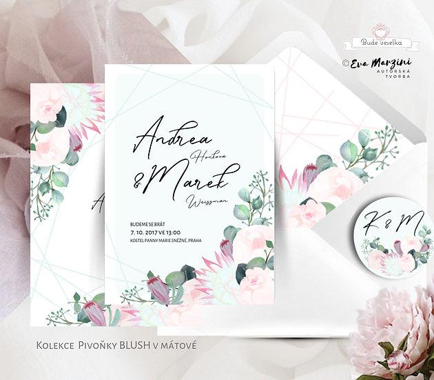 Svatební oznámení mint s geometrickými tvary a pudrovými růžemi i pivoňkami ve styelch boho vintage
