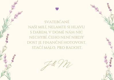 Svatební kartičky na dary Levandule a něha - v ivory, 75x105 mm