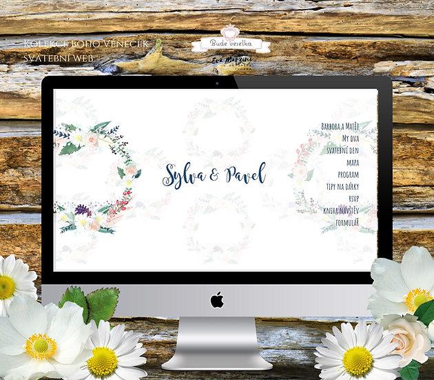 Svatební web s boho věnečkem v bílé barvě ve stylu pro vinatge či rustic svatby.