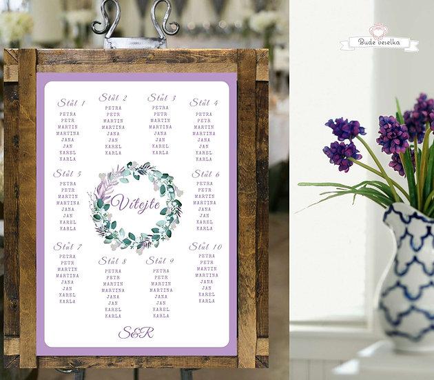 Zasedací pořádek Boho lila věneček, A3, ve fialové
