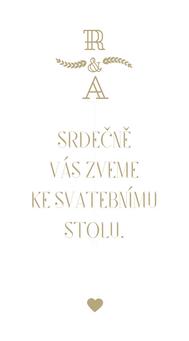 Svatební pozvánky/ na dary Modern vinatge - v bílé/zlaté, 90x50/100mm tiš