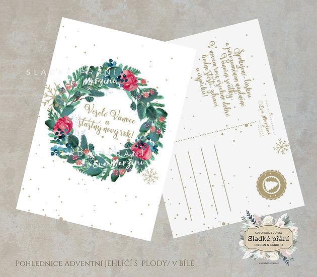 3ks Vánoční pohled Adventní Jehličí s plody, v bílé - 120x170 - tištěné