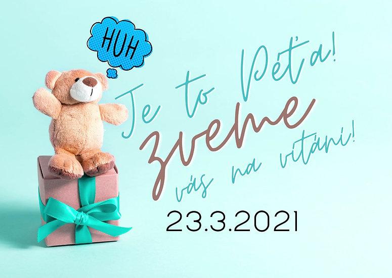 Baby Shower No.2 - animovaná web pozvánka dětská s medvídkem na křtiny, vítání nebo narozeniny