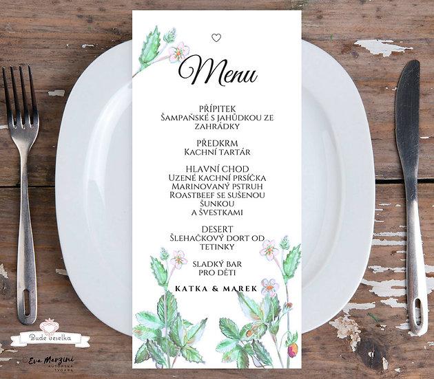Svatební menu Jahodník 99x210 mm tištěné