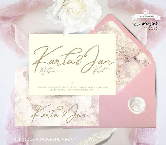 Svatební oznámení ZLATÁ kaligrafie, ve variantě bílé, se zlatými akcenty ve stylu vintage