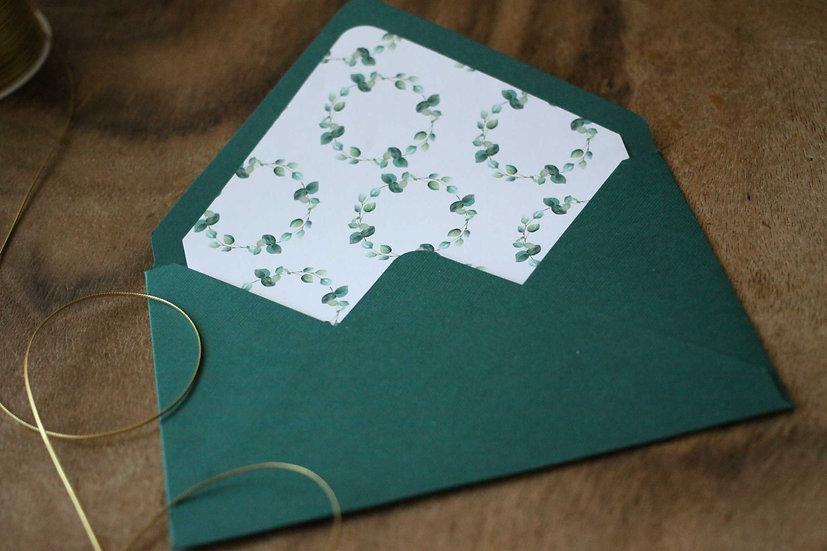 Obálka C6+ vroubkovaná zelená - Eucalyptus srdíčkový , bílé