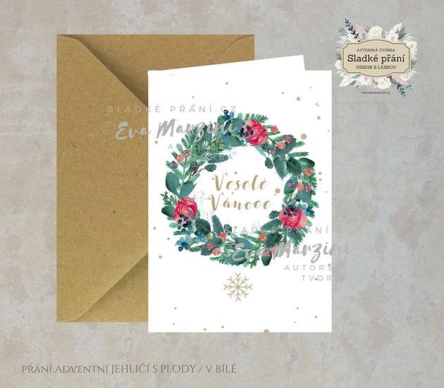 Vánoční přání Adventní Jehličí s plody, v bílé - 240x170 - tištěné