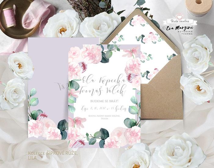 Svatební oznámení v bílé, fialové (lila) a pudrové s pudrovými růžovými květy s eucalyptem, boho vintage a rustic