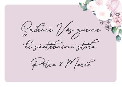 Svatební pozvánky Pivoňky No.3, fuchsiové 75x105 mm